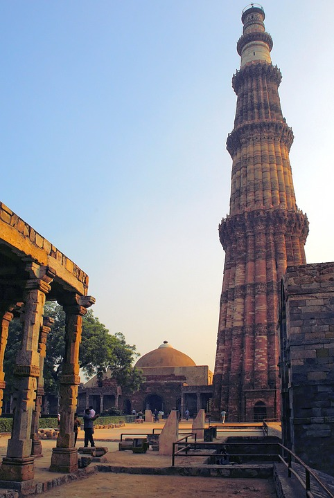 Delhi, Mosque, Great Mughal, Minaret, Sculptures