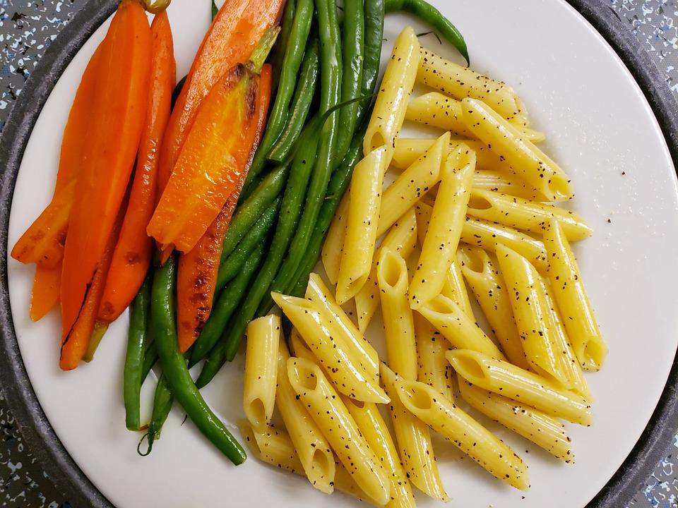 Carrots, Green Beans, Pasta, Lunch, Delicious, Vegan
