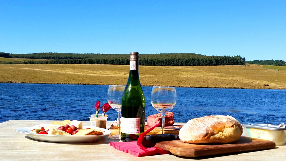 Food, Eat, Delicious, View, Table, Bread, Wine, Lake