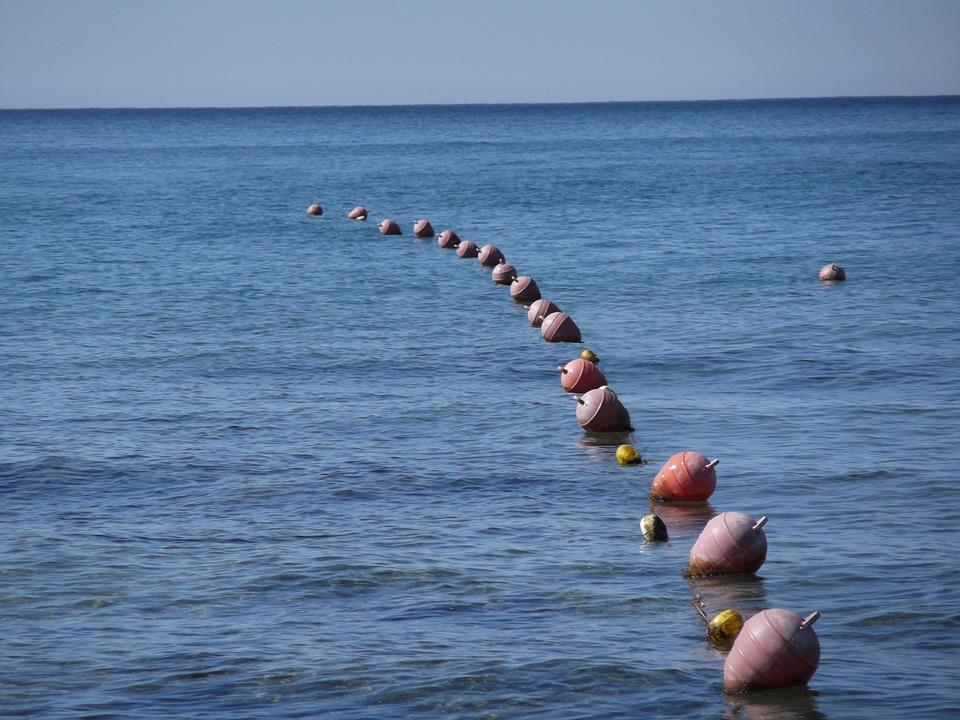 Buoys, Sea, Water, Ocean, Demarcation