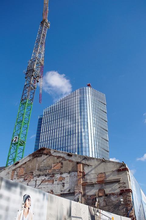 Buildings, Construction, New, Demolition Of The, Crane