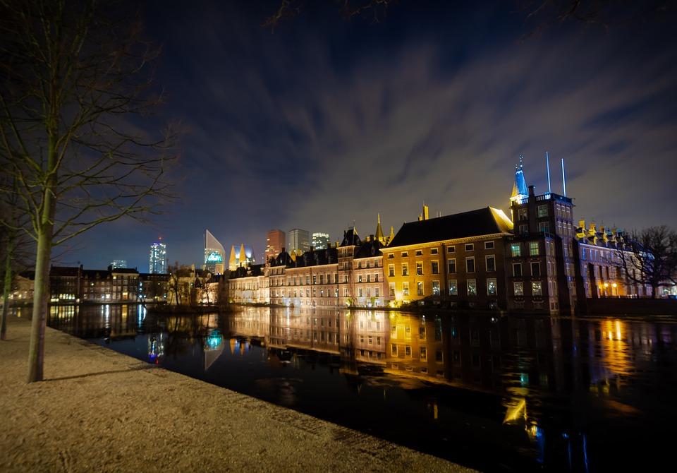 Night, City, Den Haag, Architecture, Lights, Urban