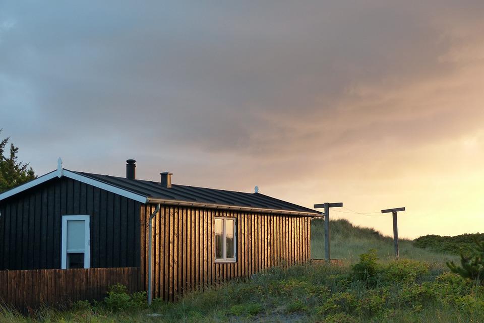 Holiday House, Holiday, Dusk, Evening Sky, Denmark, Sky