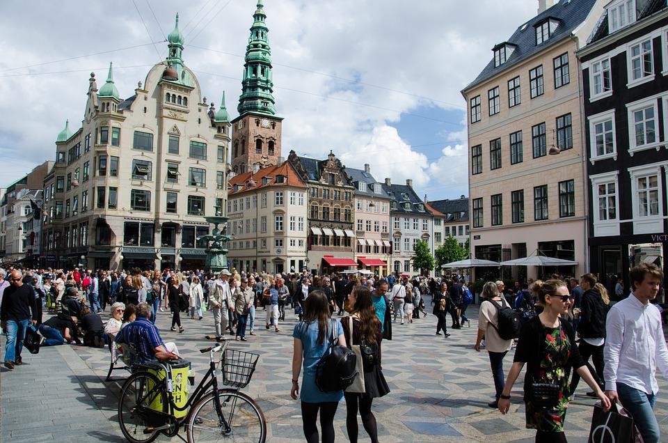 Copenhagen, Shopping, Square, Denmark, Europe, Spring