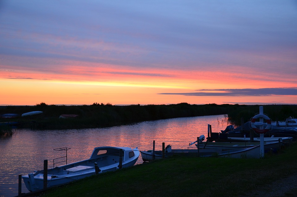 Denmark, Sunset, Nissum Fjord, Evening Sky, Sun, Coast