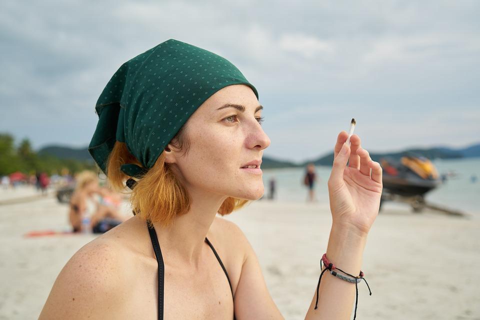 Cigarette, Women's, Bandana, Dependency, Exposure