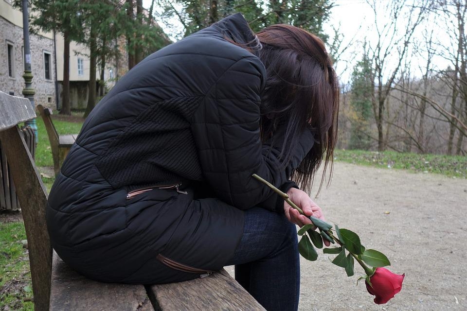 Sad Girl, Red Rose, Lonely, Depressive, Bench, Sitting