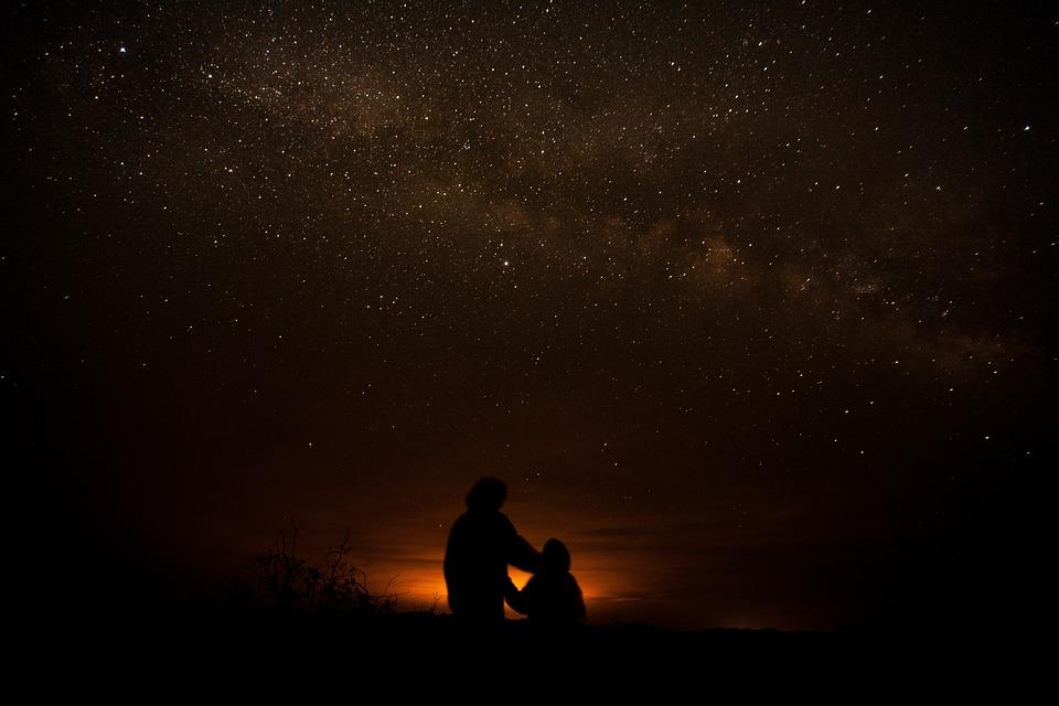 Stars, Silhouette, Galaxy, Desert, Children, Dark