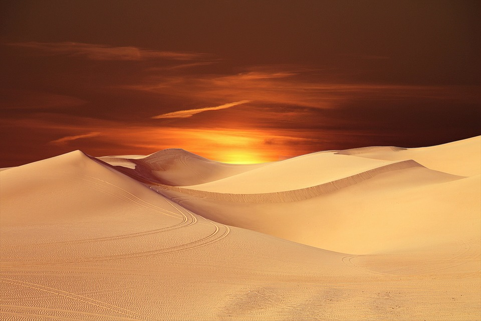 Desert, Sun, Landscape, Sunset, Dune, Horizon