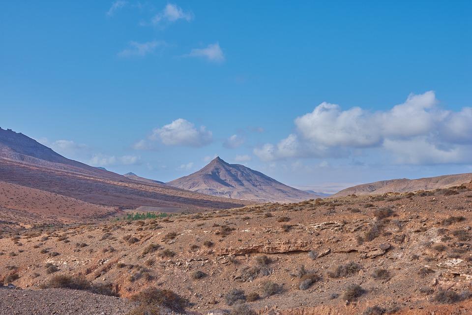 Blue Sky, Desert, Hill, Wölke, Sun, Lava