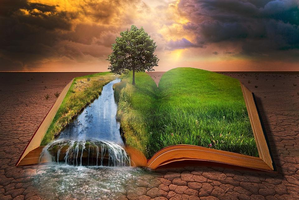 Book, Desert, Water, Small River