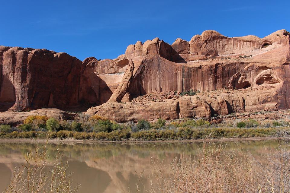 Moab, Blue Sky, Desert, River, Southwest, Landscape