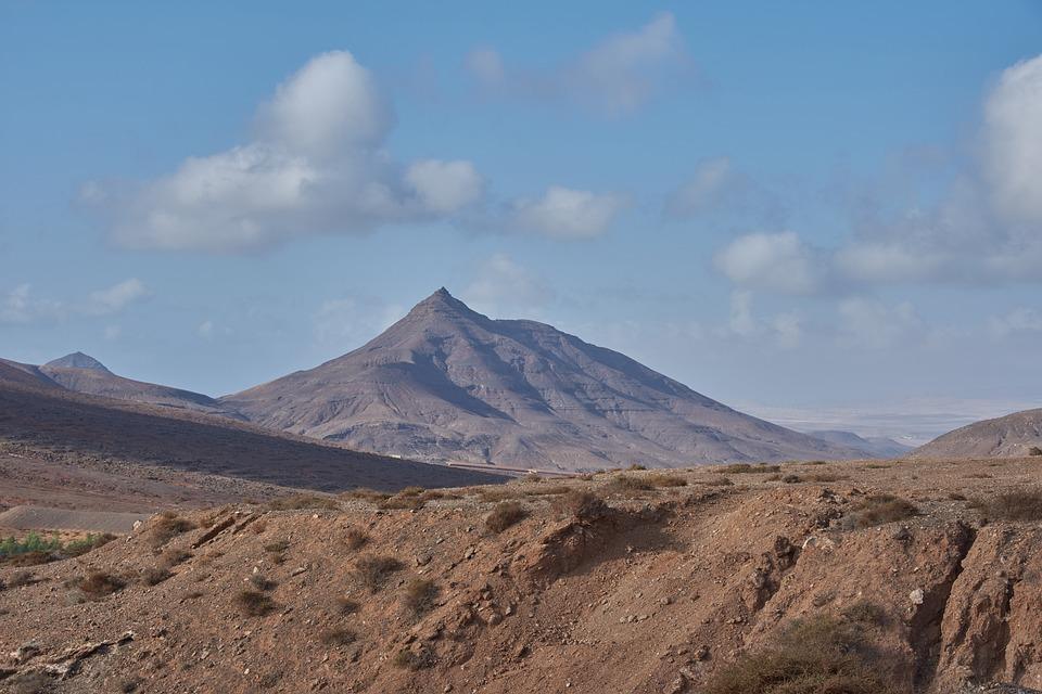 Desert, Hill, Wölke, Sun, Lava, Volcano Island