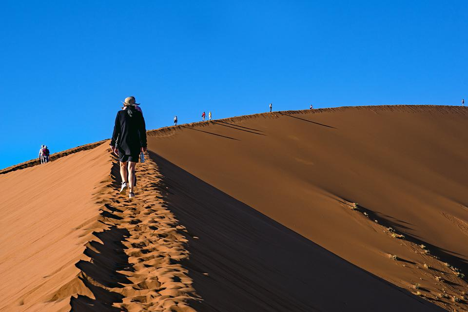 Desert, People, Walking, Foot Prints, Hiking, Trekking