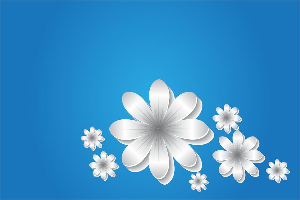 Flowers, Background, Blue, Design, Floral, Decoration