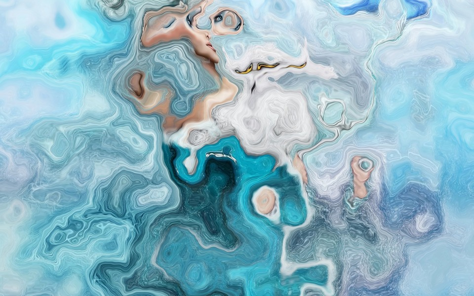 Abstract, Blue, Eddy, Water Art, Structure, Design