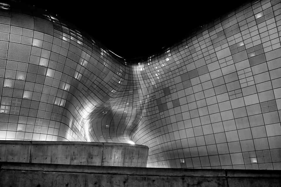 Architecture, Sculpture, Building, Korea, Night, Design