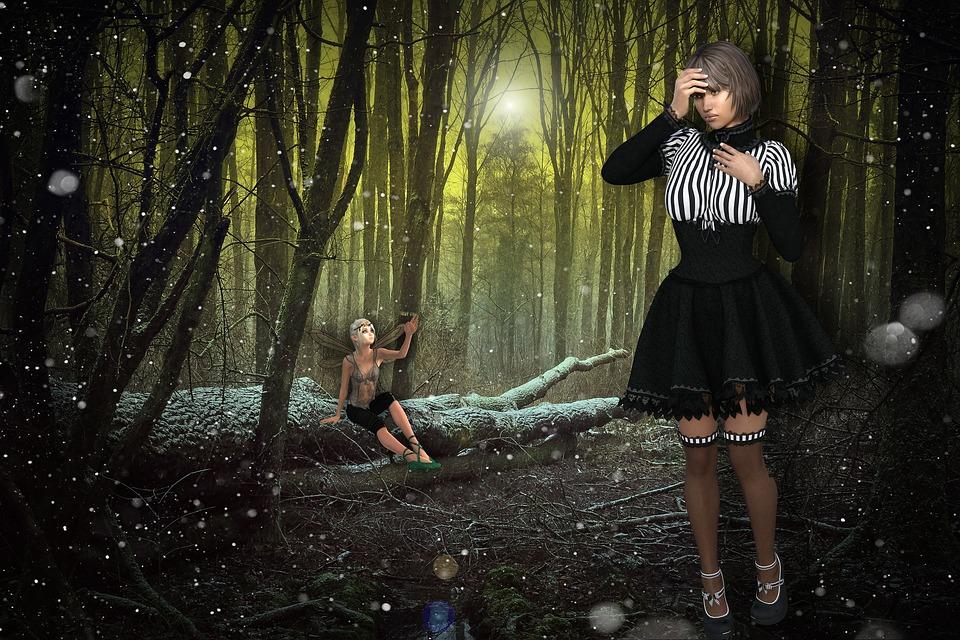Gothic, Girl, Chica Gotica, Sad Girl, Design, Forest