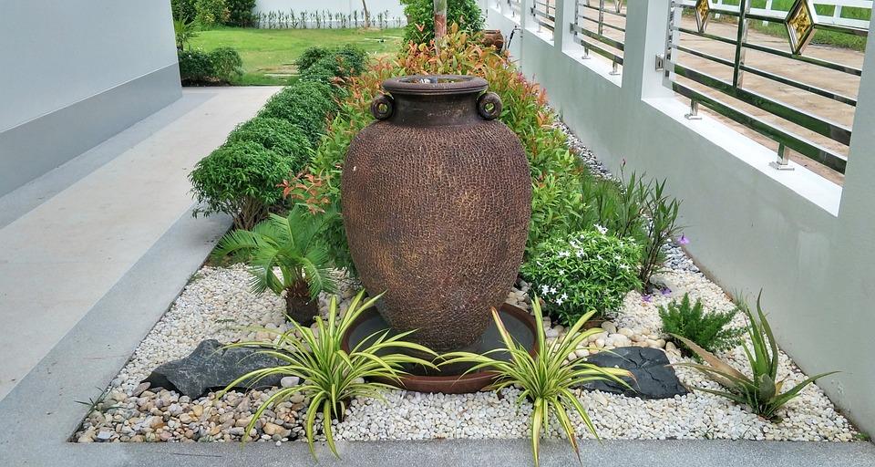 Garden, Design, Layout, Large, Vase, Water, Feature