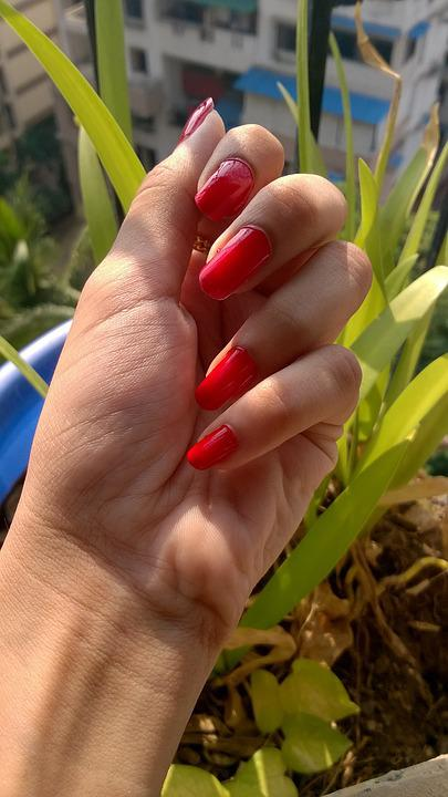 Nail, Paint, Red, Female, Fashion, Design