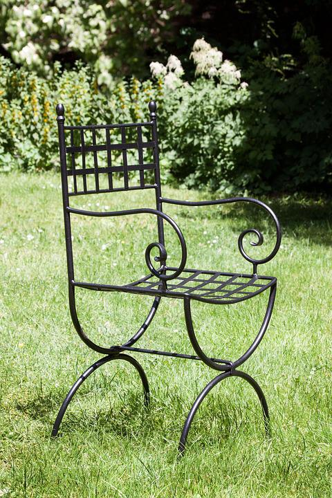 Garden Chair, Chair, Design, Wrought Iron, Old Form
