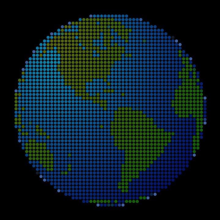 Earth, Planet, Dots, World, Design, Globe, Map, Modern