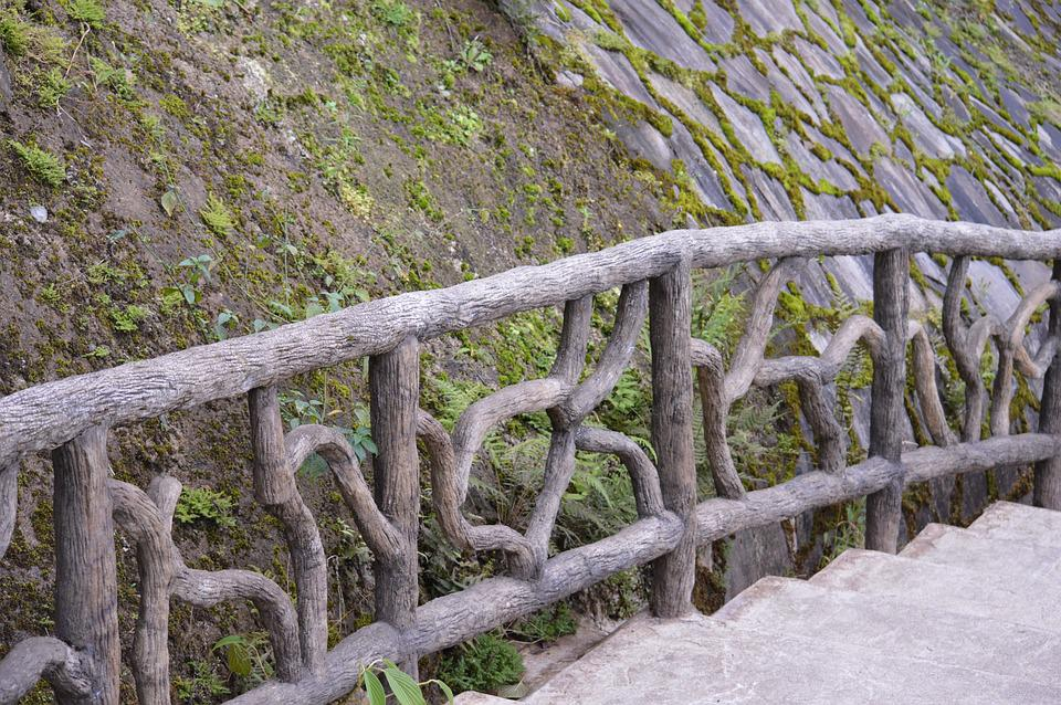 Fence, Wood, Moss, Stairs, Branches, Design, Rock
