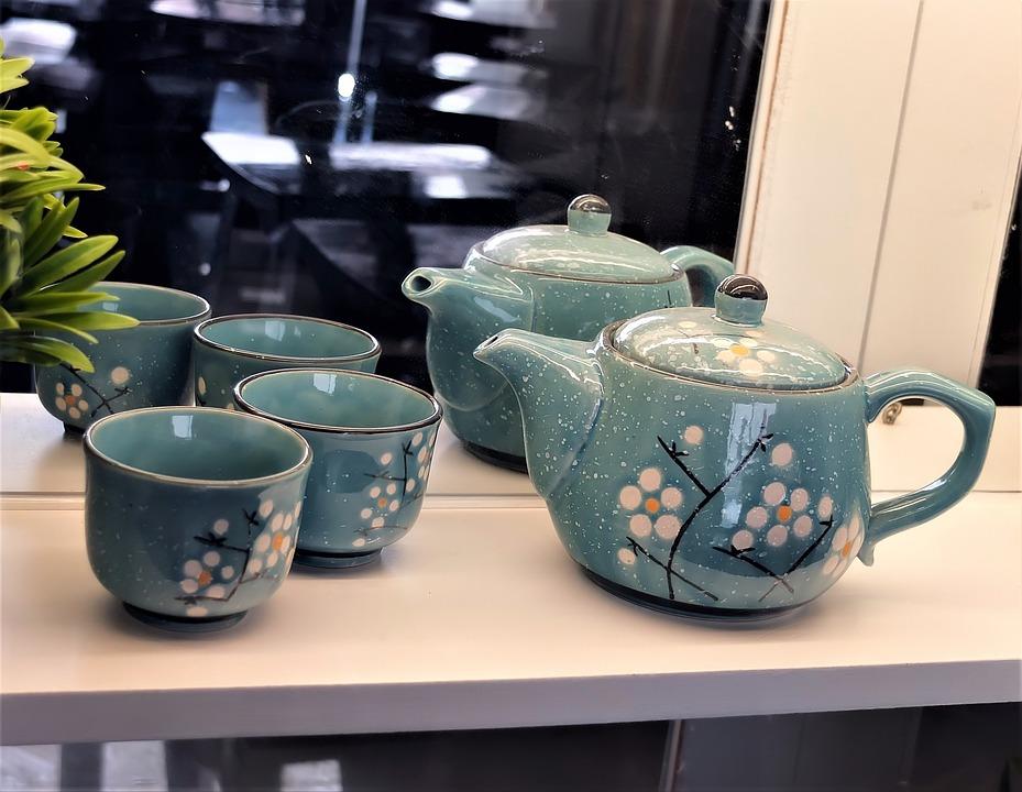 Small, Ceramic, Teapot, Asian, Design, Color, Clam