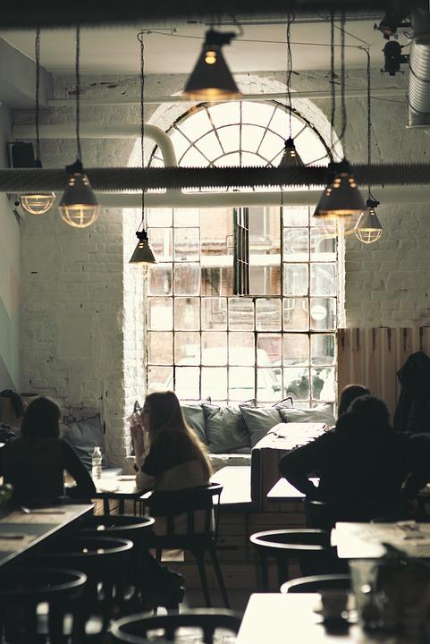 Vintage, Restaurant, Window, Lamps, Interior, Design
