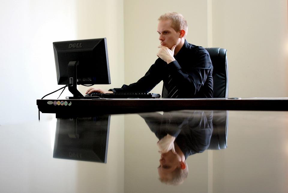 Business, Businessman, Chair, Computer, Desk, Desktop
