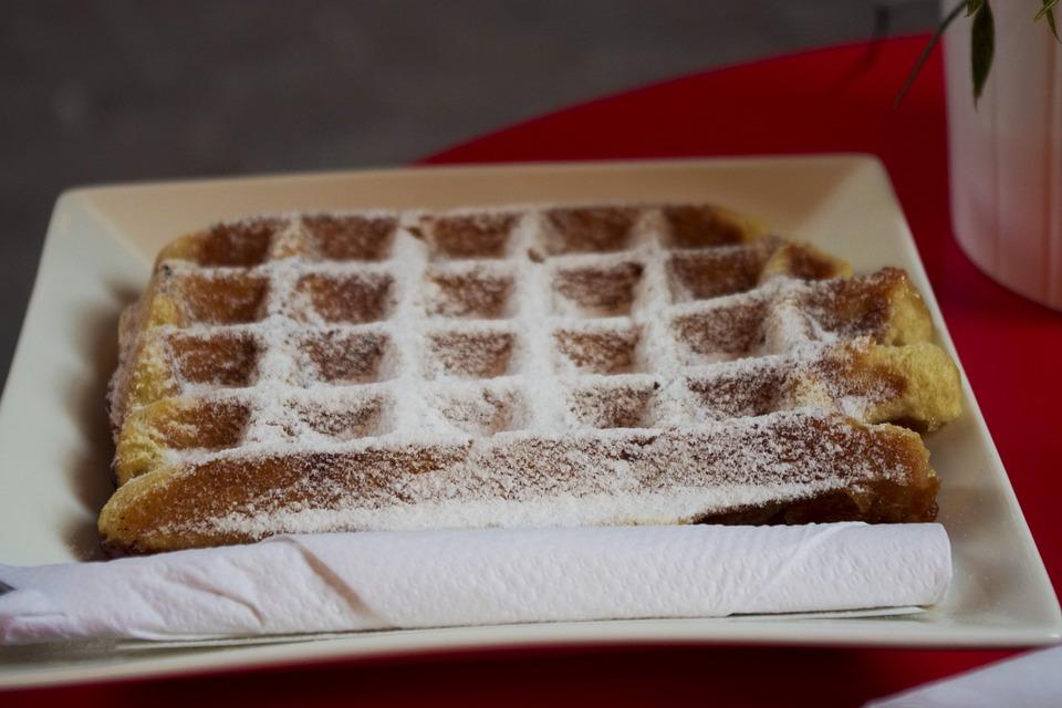 Waffle, Sugar, Dusting, Snack, Dessert, Sweet, Belgian