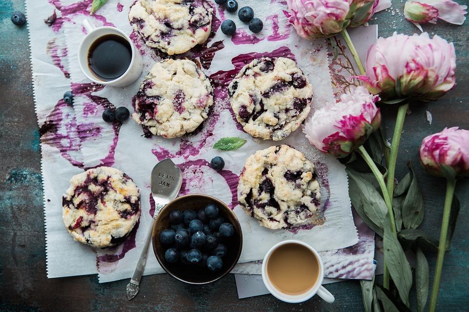 Cookies, Blueberries, Bowl, Delicious, Dessert, Food