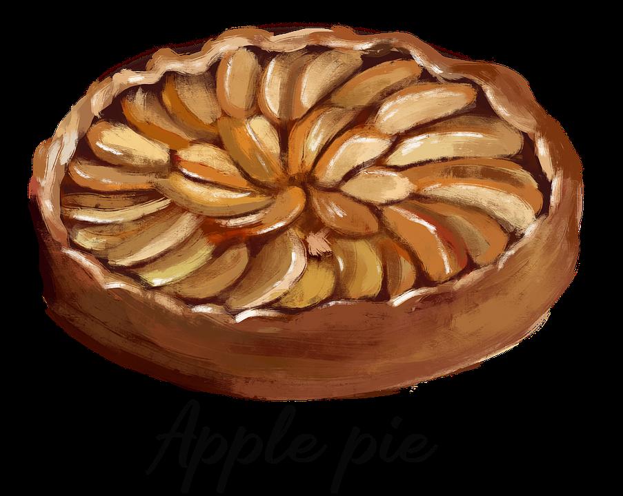 Apple Pie, Dessert, Pastry, Baked Goods, Drawing