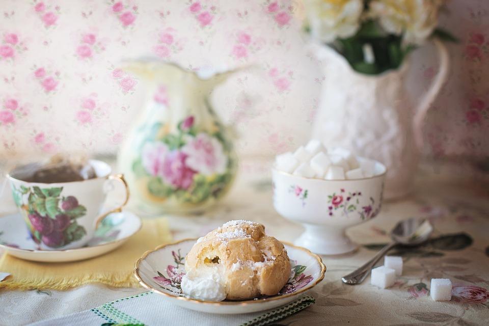 Cream Puff, Tea, Cream, Puff, Pastry, Sweet, Dessert