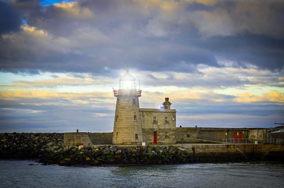 Beacon, Lighthouse, Coast, Destination, Harbor, Ireland