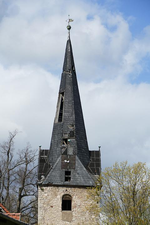 Ruin, Steeple, Leave, Building, Old House, Destroyed