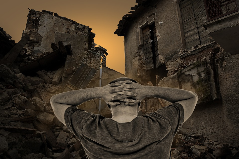 Destroyed Houses, Destruction, Man, Arms Over Head Beat