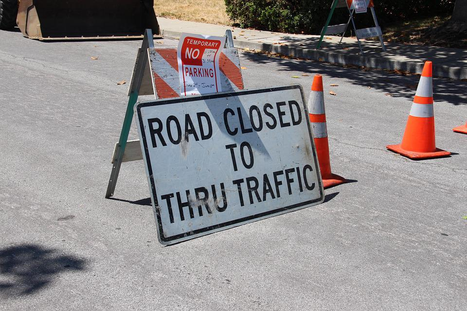 Road Closed, Construction, Detour, Road, Closed, Sign