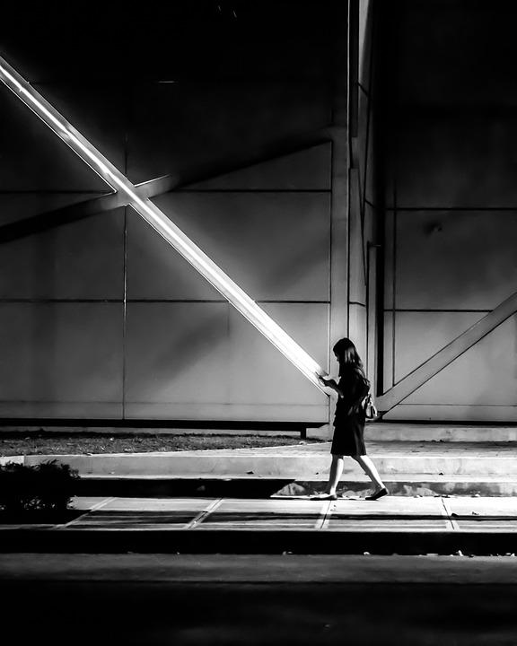Girl, Street, Walk, Person, Device, Mono