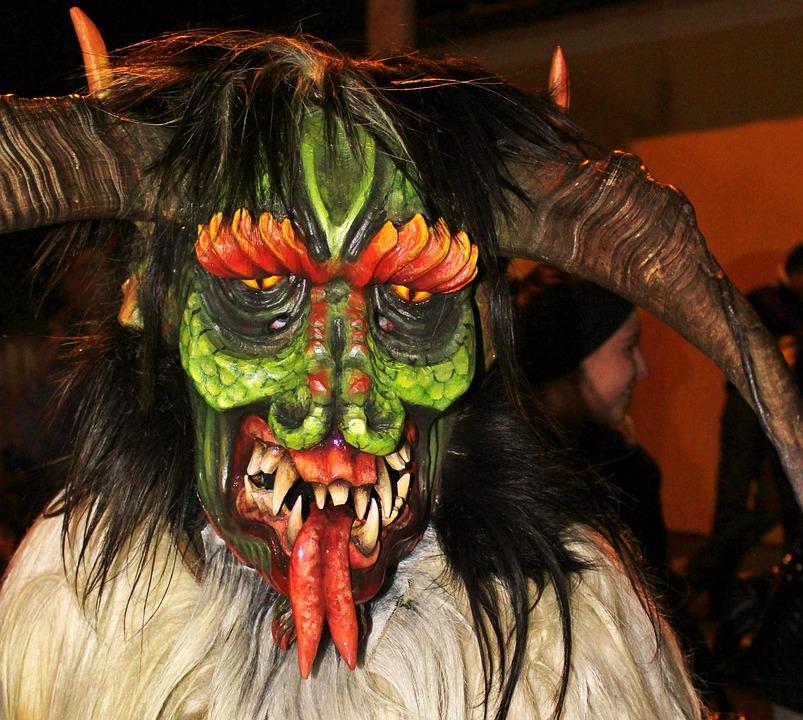 Perchtenmaske, Wooden Mask, Carnival, Devil, Luzifer