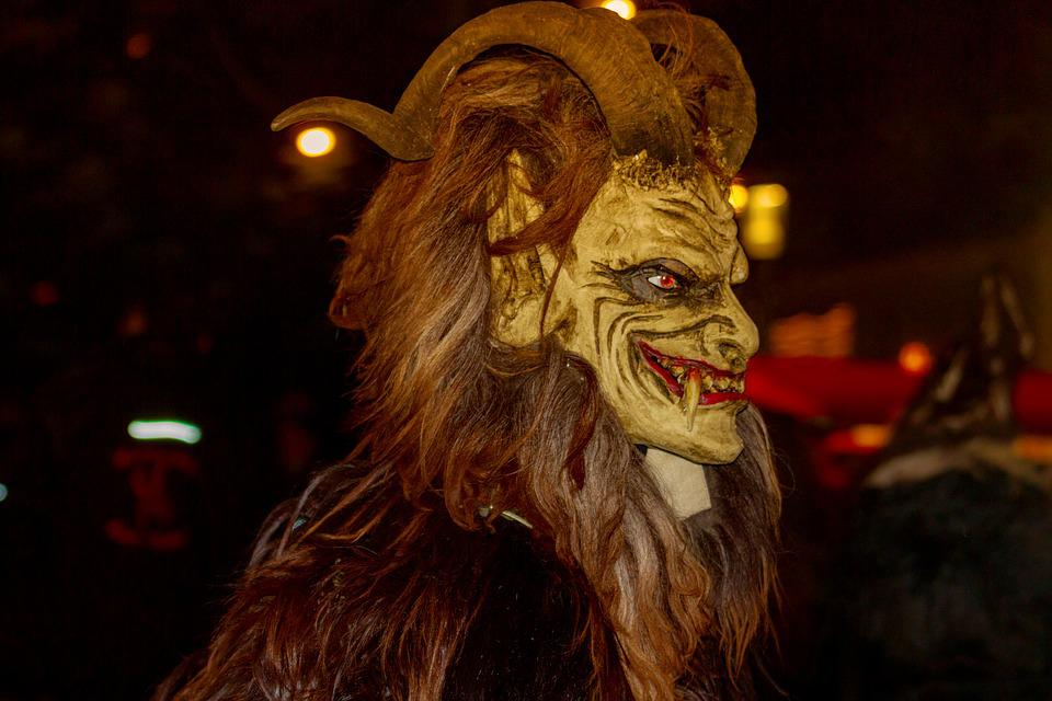 Krampus, Customs, Devil, Mask, Weird, Panel, Evil