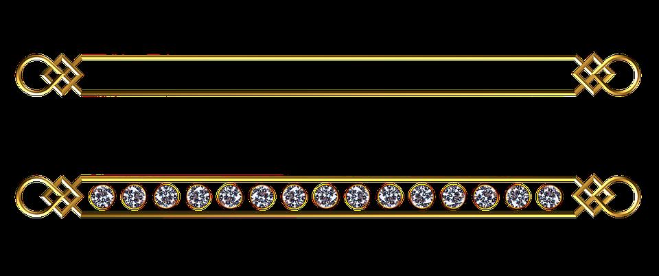 Gold, Divider, Set, Plain, Gem, Stone, Diamond, Quartz