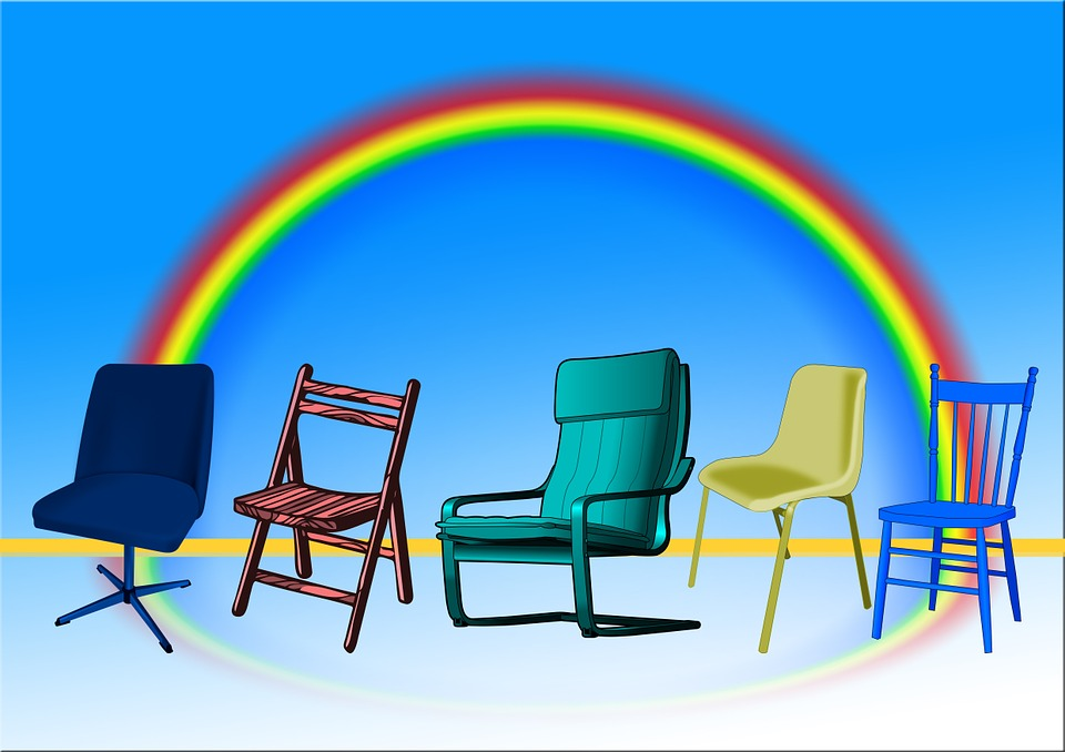 Chairs, Sit, Seat, Diversity, Chair, Different, Rainbow