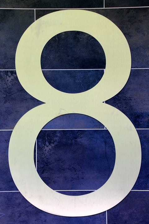 Number, Digit, Eight, 8, House Number, Blue