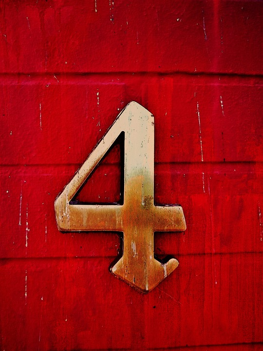 Number, Four, Red, House Number, Digit