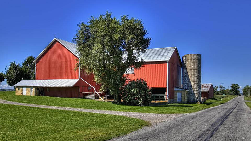 Barn, Rustic, Barns, Road, Silo, Ohio, Digital Art