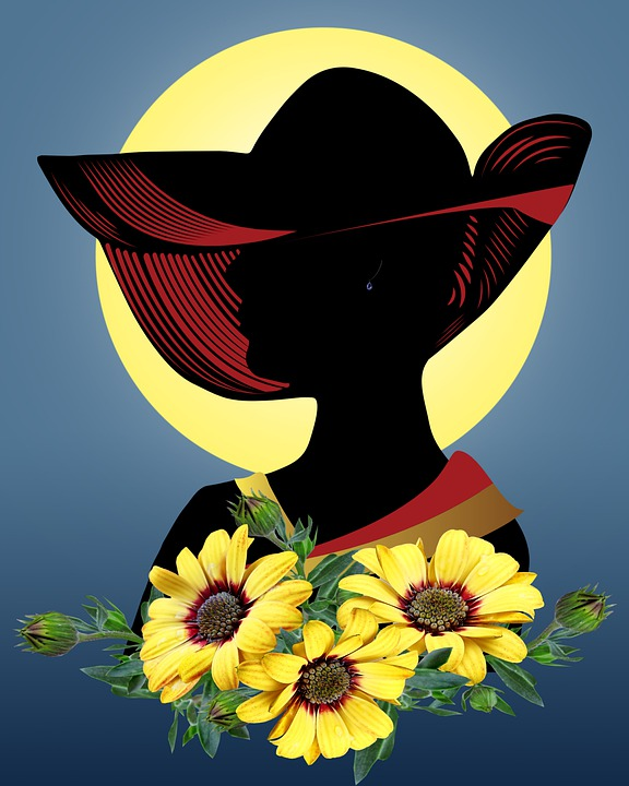 Woman, Fashion, Silhouette, Flowers, Hat, Digital Art