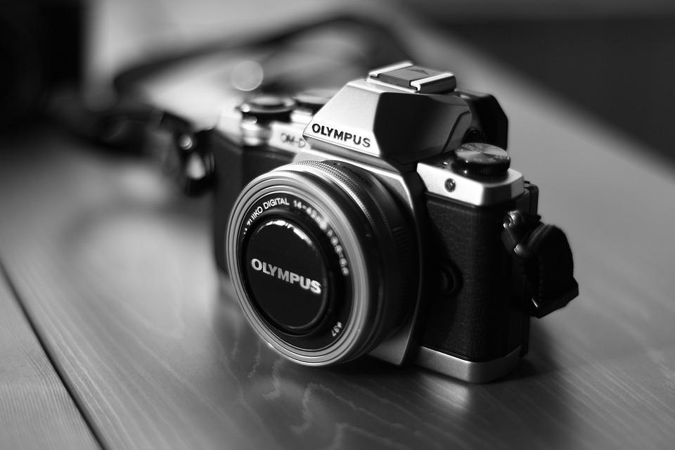 Camera, Olympus, Digital Camera, Black And White