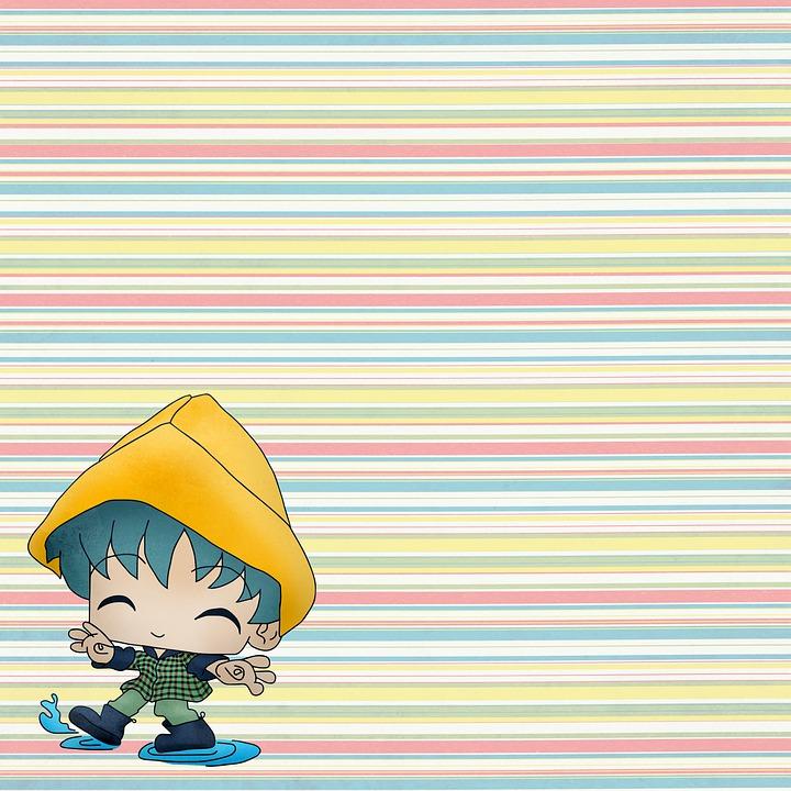 Digital Paper, Children's Paper, Anime Boy, Girl, Rain