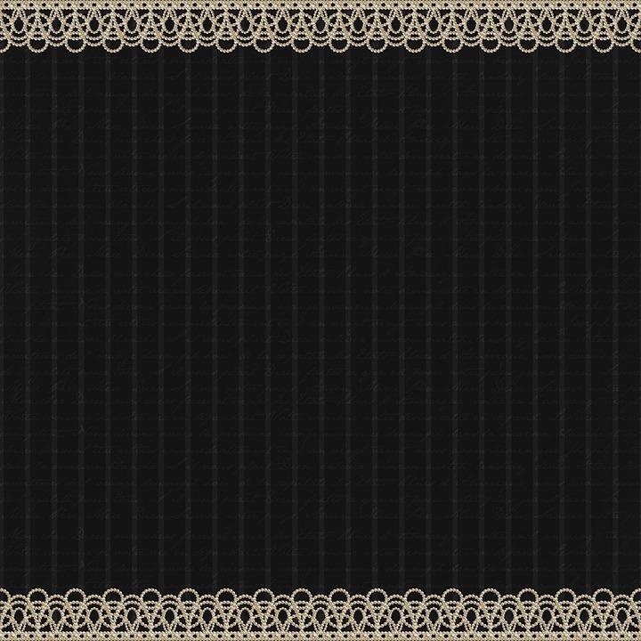 Pearl Edge, Digital Paper, Lace, Black, Vintage